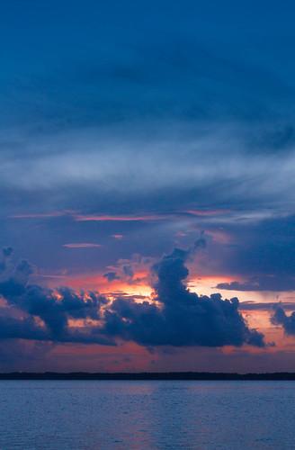 blue sunset sky orange nature water colors clouds sunrise canon river landscape