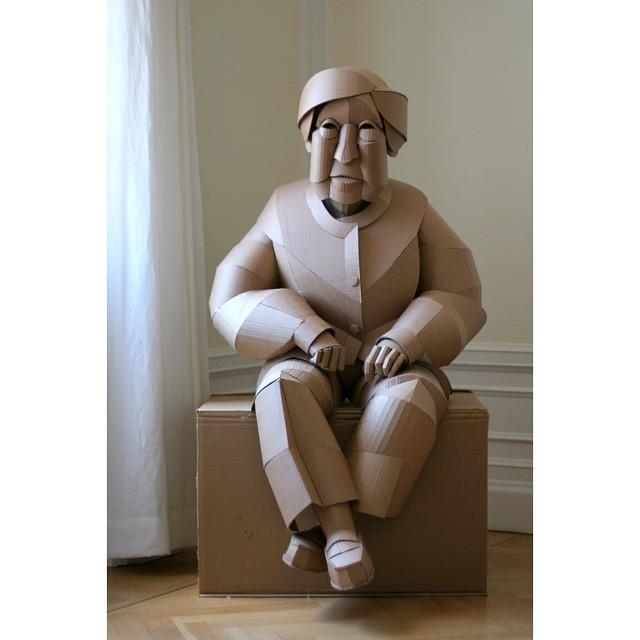 Seated woman, finished.  #cardboard #cardboardart #art #sculpture