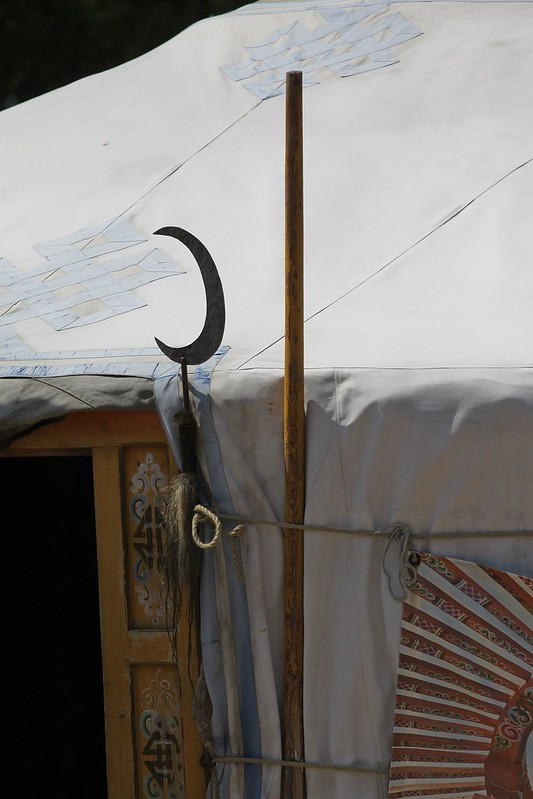 Yurt embellished with historical emblems associated with the glamping abodes historic connection