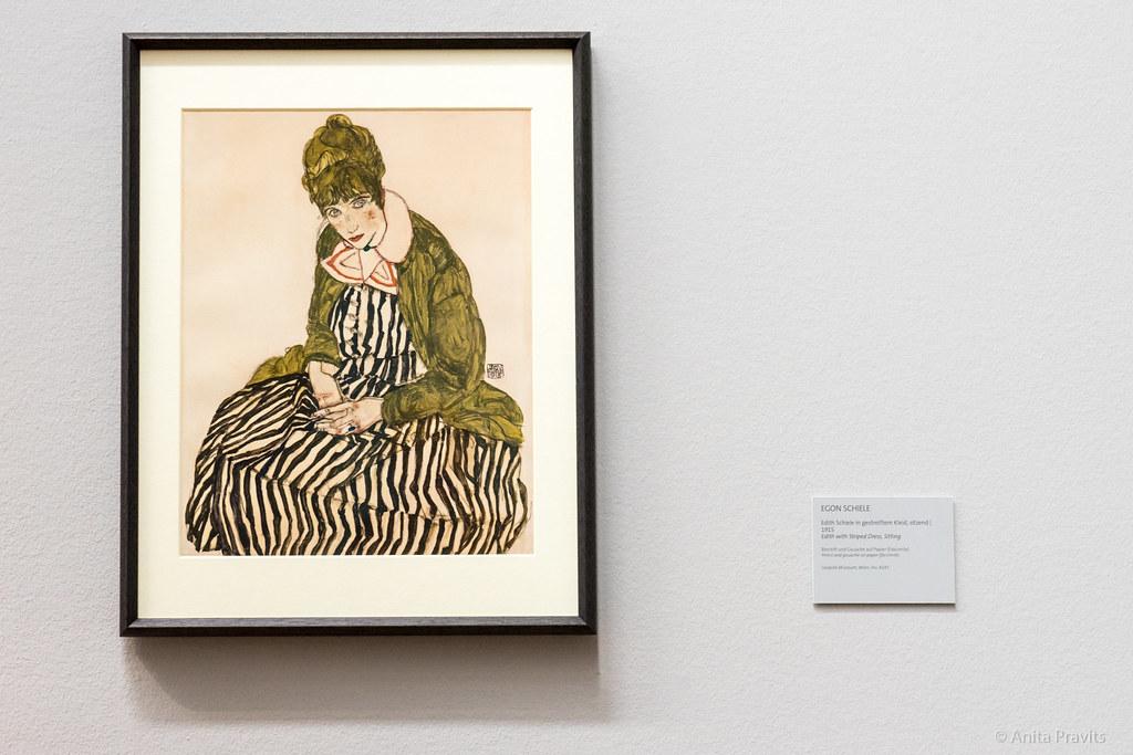 Egon Schiele Edith Schiele In Gestreiftem Kleid Sitzend Flickr