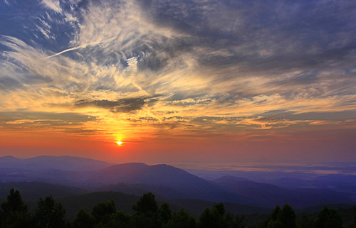park morning blue summer color weather clouds sunrise dawn virginia us ridge national parkway