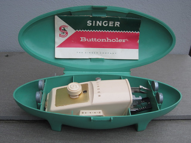 Mid Century Modern Singer Sewing Machine Buttonholer in a Cool Mint Green Box