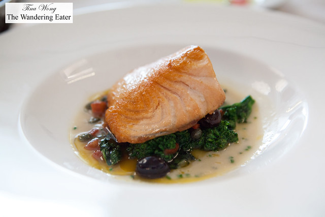 Seared Scottish salmon, sautéed broccoli rabe, tomato concasse, cauliflower crema