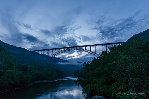 westvirginia fayettecounty newrivergorge bridges newrivergorgebridge nrhp riversandstreams newriver reflections greatskies dusk fog may2015 may 2015 canon16354l