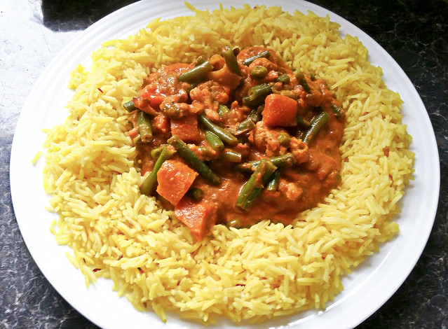 Vegetable Masala Curry & Pilau Rice.
