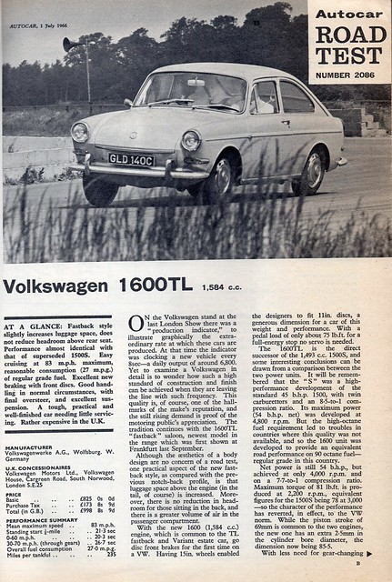 Volkswagen 1600 TL Fastback Road Test 1966 (1)