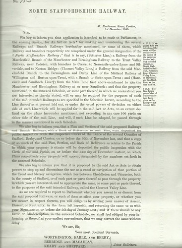 North Staffordshire Railway Notice of application to Parliament 1845 | by ian.dinmore