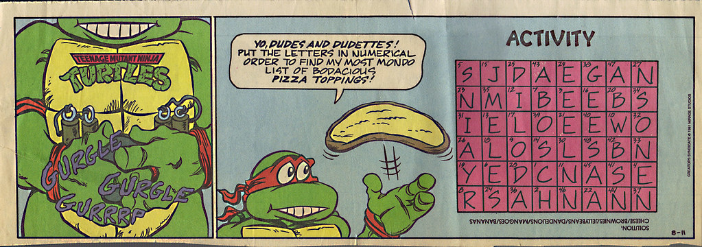 TEENAGE MUTANT NINJA TURTLES { newspaper strip } ..Mikey's Stomach ; ..art by Lawson  :: 08111991 by tOkKa
