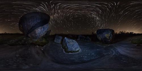 panorama lightpainting rock night nightscape 360 boulder astrophotography perth granite astronomy westernaustralia magiclantern startrail equirectangular starstax