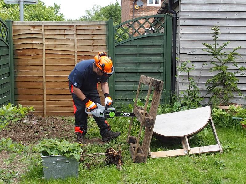 Ryan dismantling a pallet