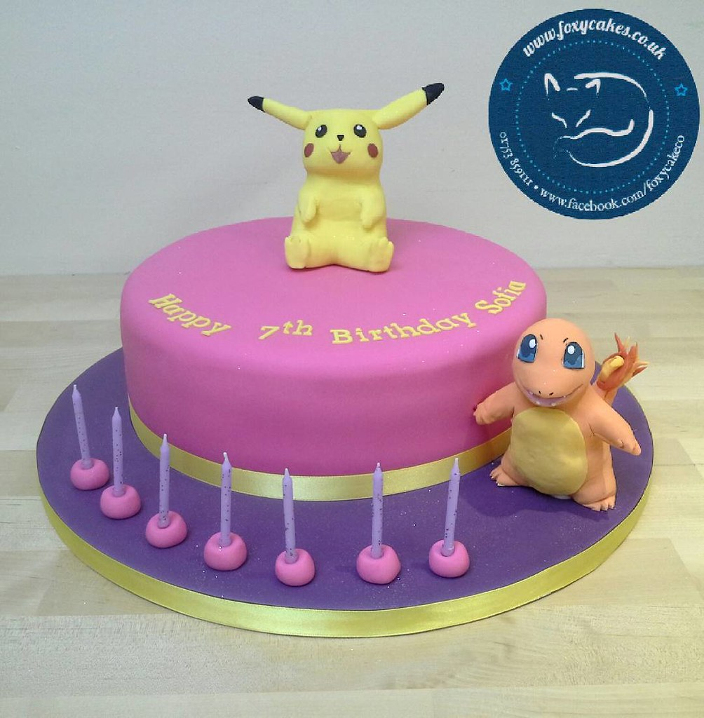 Marvelous Pikachu And Charmander Pokemon Cake Cake Eton Windsor Flickr Funny Birthday Cards Online Alyptdamsfinfo