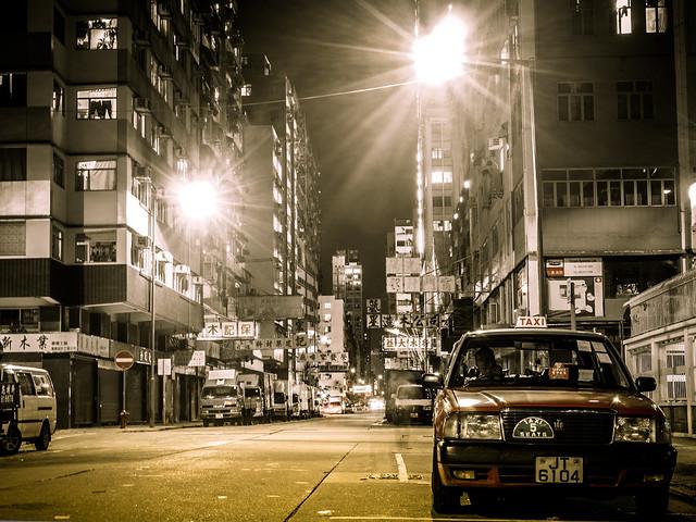 Cab driver at night