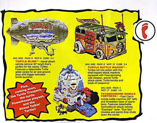 TEENAGE MUTANT NINJA TURTLES :: 'HEROES IN A HALF SHELL'  PLAYMATES TOYS 2009 NYCC / TMNT 25 RETRO PRINT ( 1987 Repro Sales Flyer } iii // Vehicles isolated (( 2009 )) by tOkKa