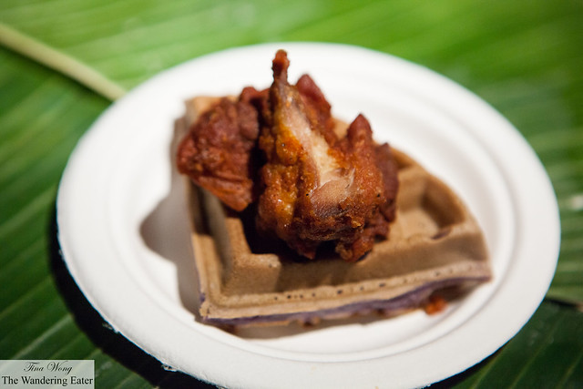 Fried chicken with coconut jam on purple potato waffle by Jeepney & Mahalika Filipino