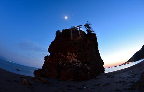 ocean sunset moon beach star nikon dusk fisheye shimane izumo sanin 島根 出雲 inasa 山陰 d7100 稲佐の浜 inasabeach