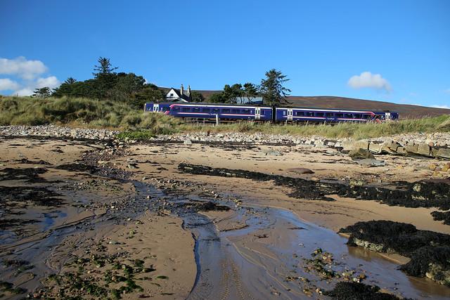 Scotrail train near Kintradwell Links
