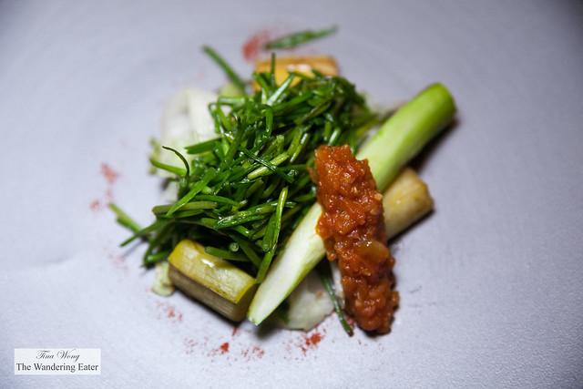 Leek, asparagus, lettuce, Taiwanese water lily, eggplant caponata