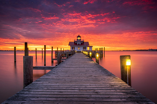 northcarolina outerbanks obx nc manteo lighthouse seascape coastal pier dock light sunrise boardwalk architecture sunset outdoors travel water longexposure roanokeisland beacon lostcolony bay shallowbag roanoke waterfront screwpile serene peaceful dawn morning coast
