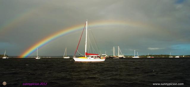 Rainbow-boats-water-Tin can bay.