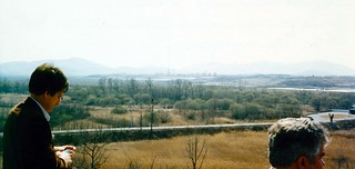 Korea   -   Panmunjom   -    Propaganda Village with Flag Pole, North Korea   -   Highest Building is 8 Stories   -   From UN Command Observation Post # 5    -   15 April 1985