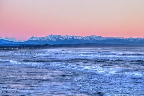 ocean sunset newzealand mountains alps beach southisland tasmansea southernalps canon600d
