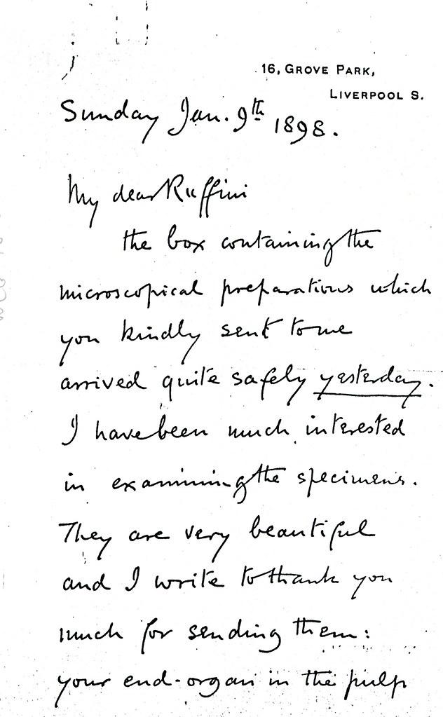 Sherrington to Ruffini - 9 January 1898 (WCG 48.5) 1/4