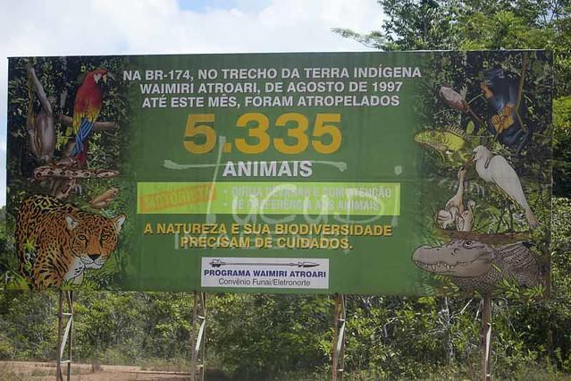 Placas informativas, Reserva Waimiri Atroari-AM.