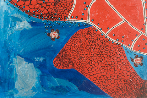 "Chest of Red Turtle (16"" x 24"" acrylic on canvas)"