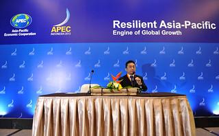 Menteri Komunikasi dan Informatika Republik Indonesia Tifatul Sembiring memeriksa kesiapan tempat yang akan digunakan press briefing di BNDCC, Nusa Dua, Bali-001 | by APEC 2013