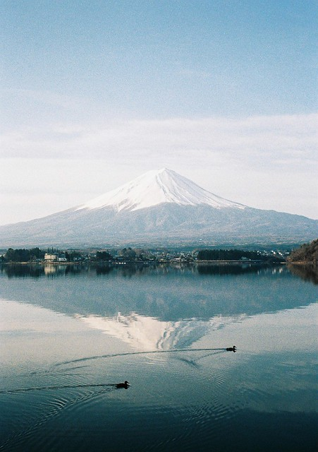 Another view of Mount Fuji shot with a Fuji camera plus two intruders