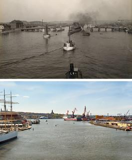 Gothenburg, Hamnen Gamla Götaälvbron 1920 / 2012