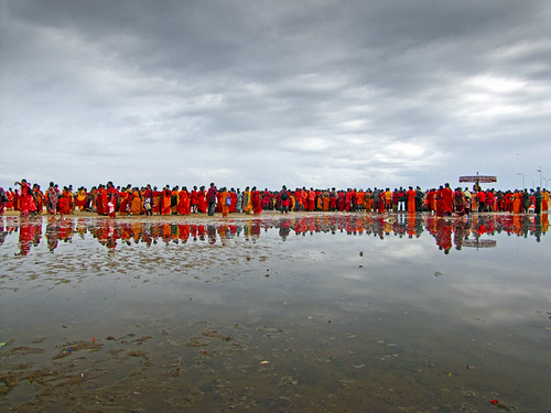 red people beach clouds reflections religious rainyday religion celebration indians marinabeach hinduism tamilnadu reddress rainclouds cwc seaofred indianlife beautifulindia tamiltradition chennaiweekendclickers ragavendran