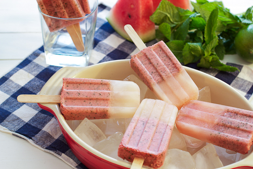 Watermelon Mojito Ice Pops | by LittleRedKitchen