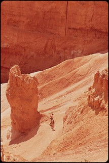 Rock formations owe reddish hue to traces of iron oxide, 05/1972.
