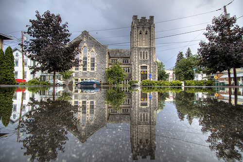 ny reflection church june puddle flood kingston rainstorm hdr 2012 redeemerlutheranchurch churchpuddle potdjune22nd2012
