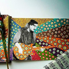 #The Color of the Music I #carlos santana portrait #watercolours #tempera #patterns #art #painting #ilustration