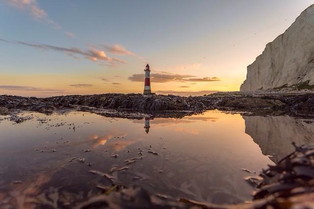 Birling gap lighthouse at sunset