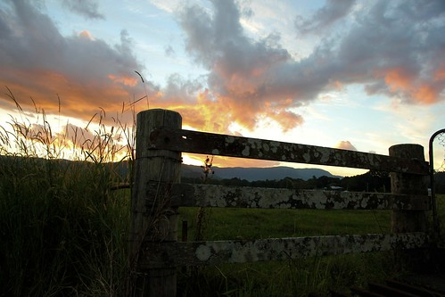 sunset grass clouds fence nsw mullumbimby