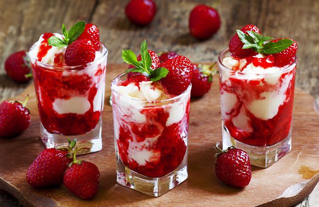 Delicious strawberry ice cream, selective focus