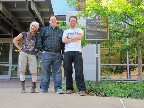 Champaign, IL: Mel, Craig, and Matt at the Mosaic plaque | by mormolyke