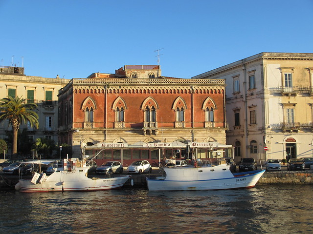 Venetian style house at Darsena channel, Siracusa, Italy