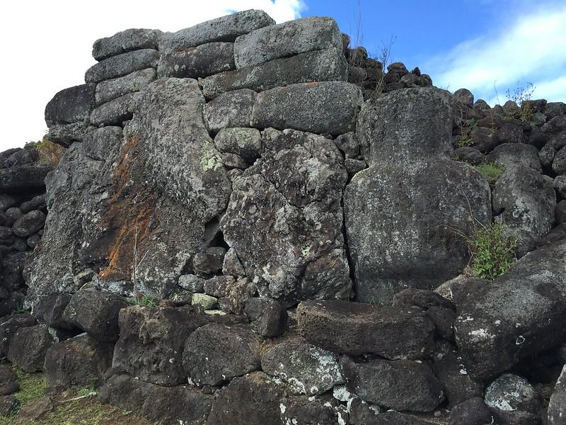 The Ahu Ma'itaki Te Moa, (Gray Moai), the Utmost North Coast Trail to the West Coast trail, Rapa Nui (East Island), Chile, Oceania.