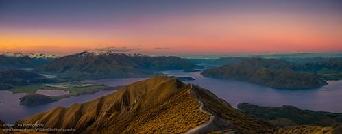 travel sunset newzealand sky panorama sunlight lake snow nature skyline landscape twilight dusk hiking southisland wanaka lakewanaka snowmountain royspeak