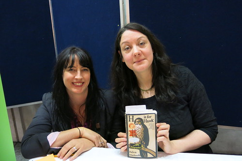 Rachael King, literary directory of WORD Christchurch and author Helen Macdonald