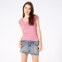 CASSIE T-shirts Women Scoop Neck Baby Rib