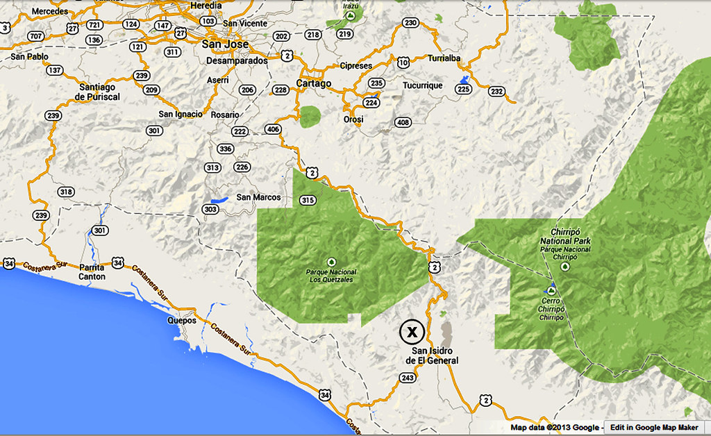 San Isidro, Costa Rica Map (screen capture from google map ...