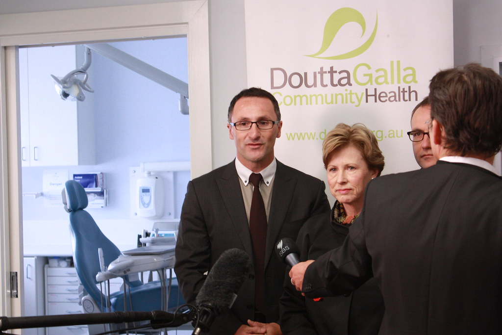 Richard Di Natale, Christine Milne and Adam Bandt announcing $515m in the Budget for dental health