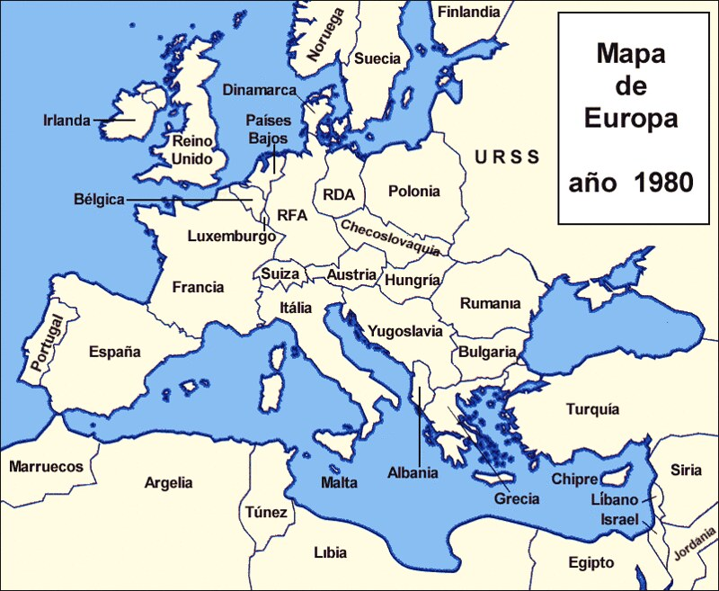 Map Of Europe 1980 Draw A Topographic Map: Map Of Europe 1980