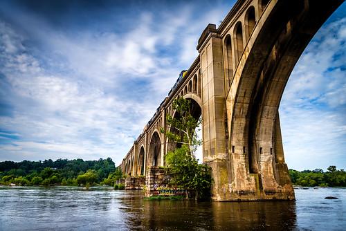 railroad trestle bridge usa art train river james virginia arches richmond va transportation deco rva csx railbridge