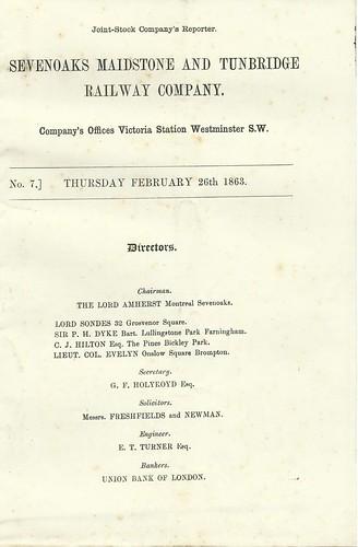 Sevenoaks, Maidstone and Tunbridge Railway 1863 | by ian.dinmore